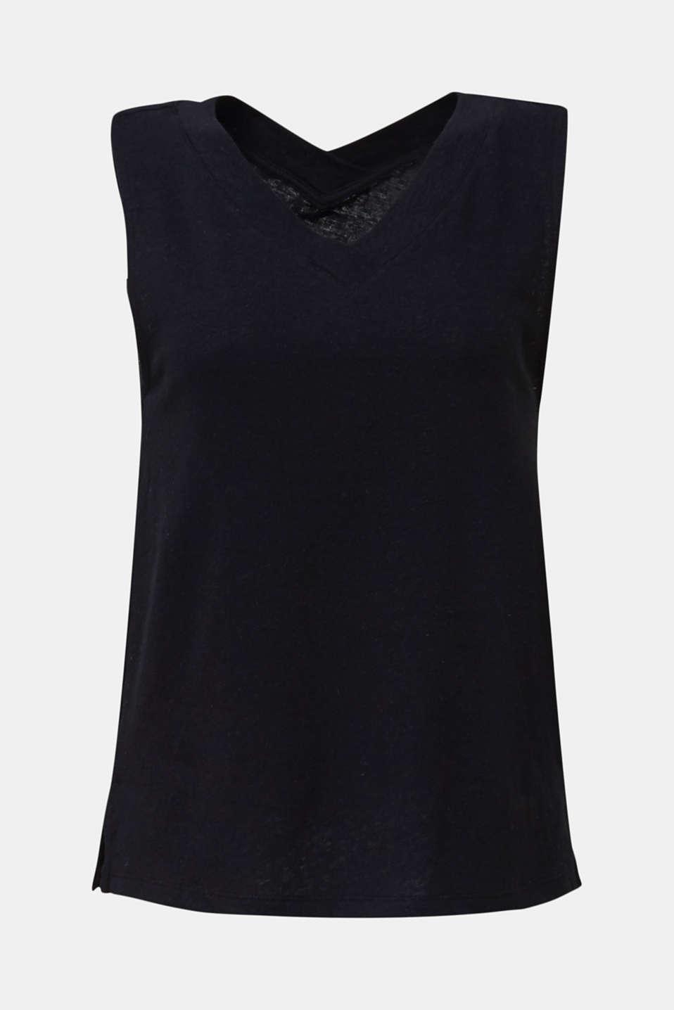 Linen blend: V-neckline top, BLACK, detail image number 7