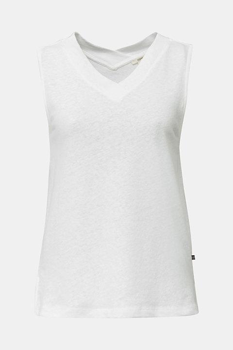 Linen blend: V-neckline top