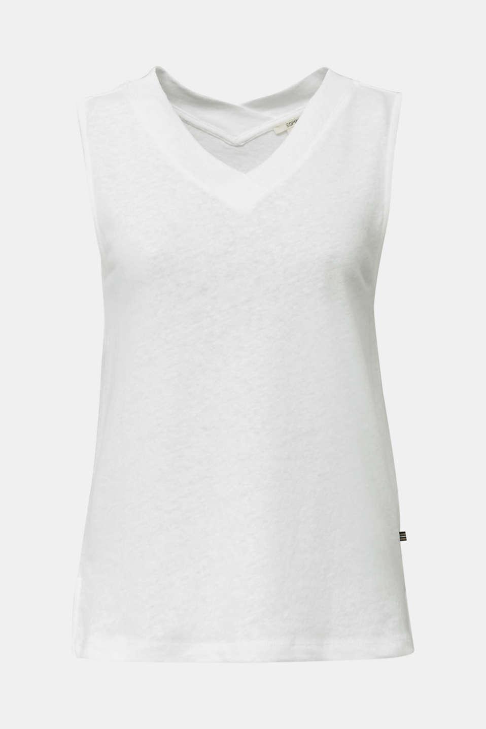 Linen blend: V-neckline top, WHITE, detail image number 6