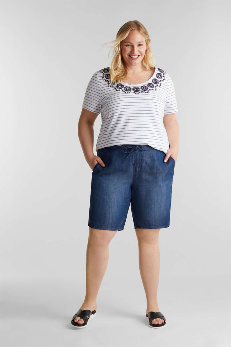 CURVY cotton top with embroidery, NAVY, detail image number 1