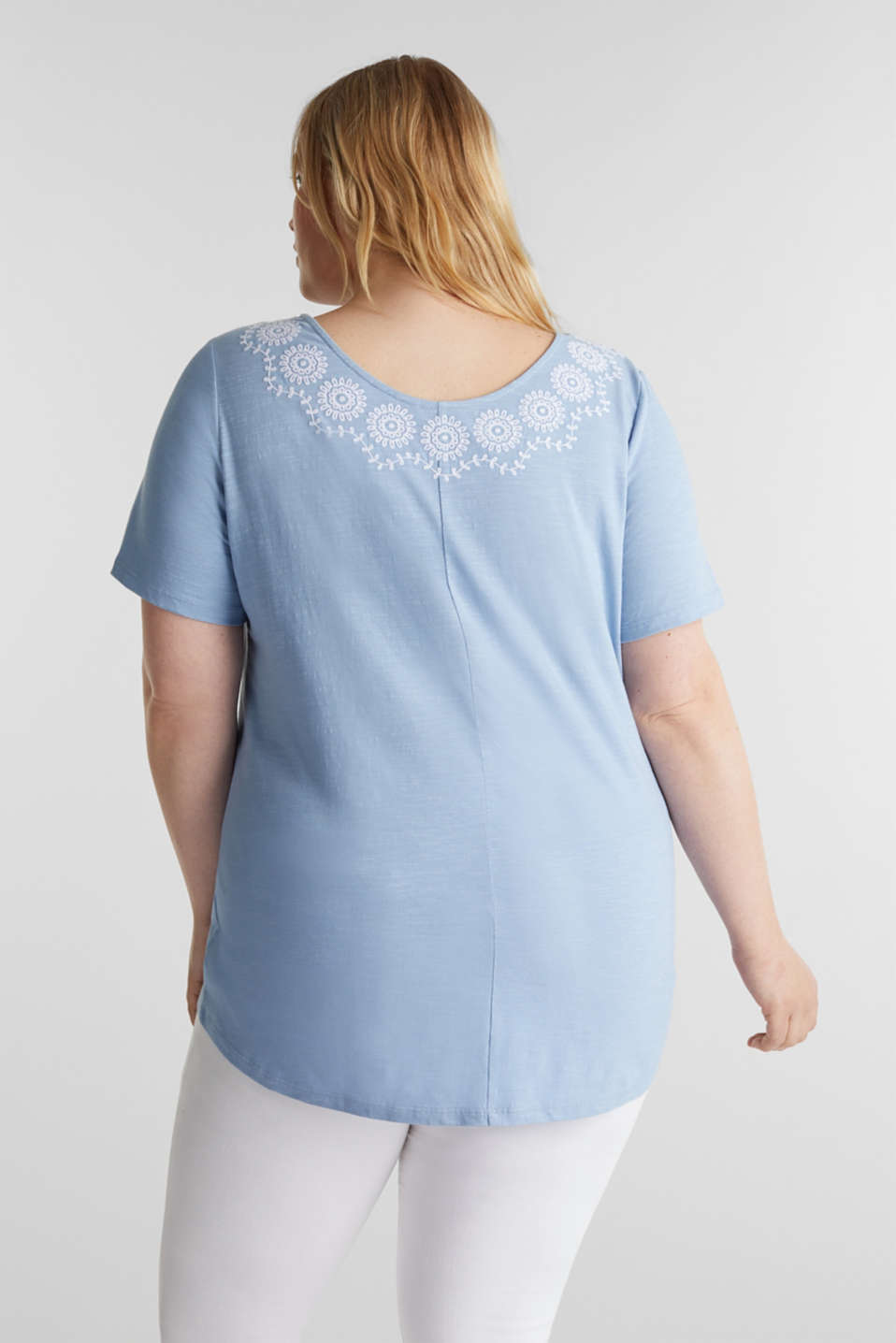 CURVY top with embroidery, LIGHT BLUE, detail image number 2