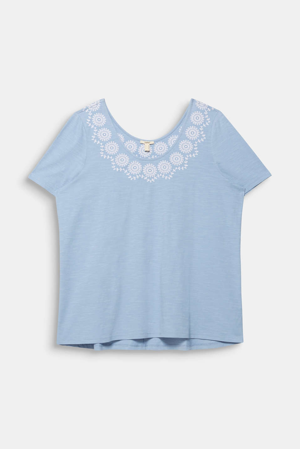 CURVY top with embroidery, LIGHT BLUE, detail image number 4