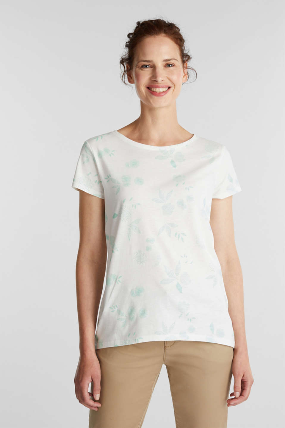 Esprit - Melange print top with organic cotton