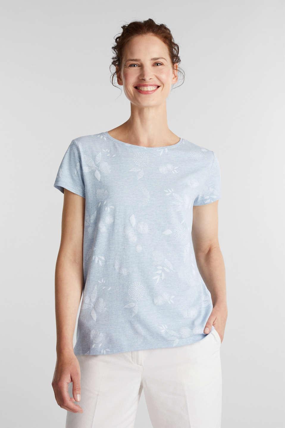 Melange print top with organic cotton, LIGHT BLUE, detail image number 0