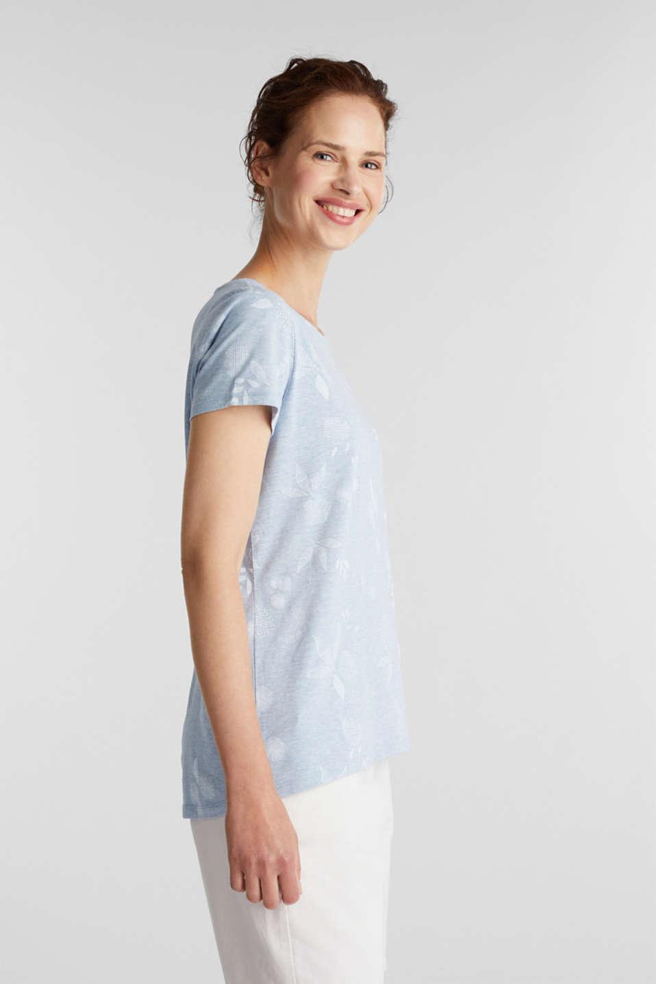 Melange print top with organic cotton, LIGHT BLUE, detail image number 5