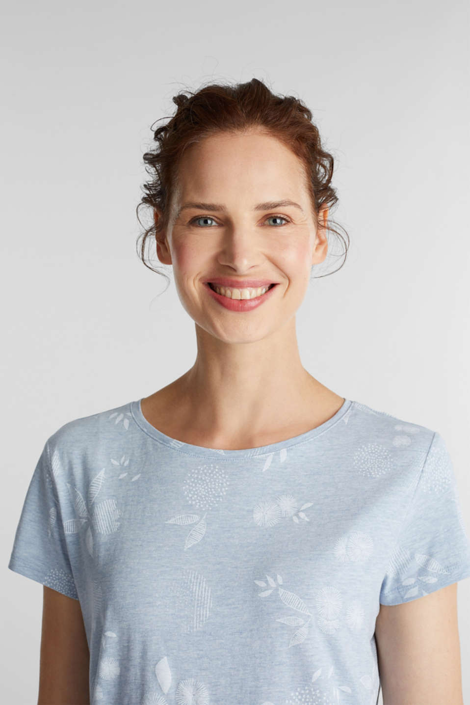 Melange print top with organic cotton, LIGHT BLUE, detail image number 6