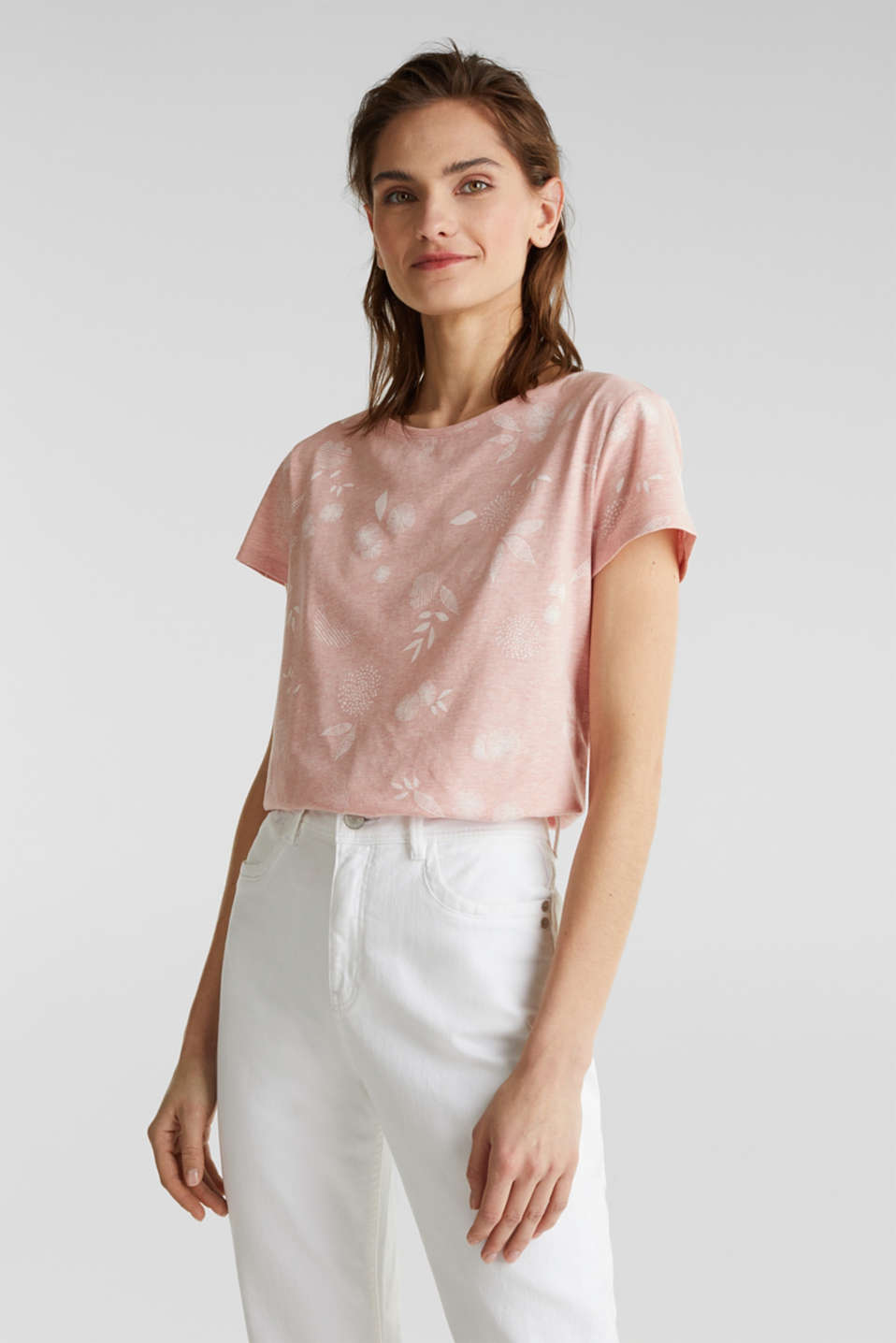 Melange print top with organic cotton, PEACH, detail image number 0