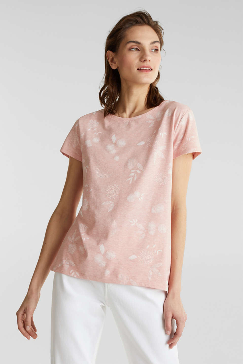 Melange print top with organic cotton, PEACH, detail image number 5