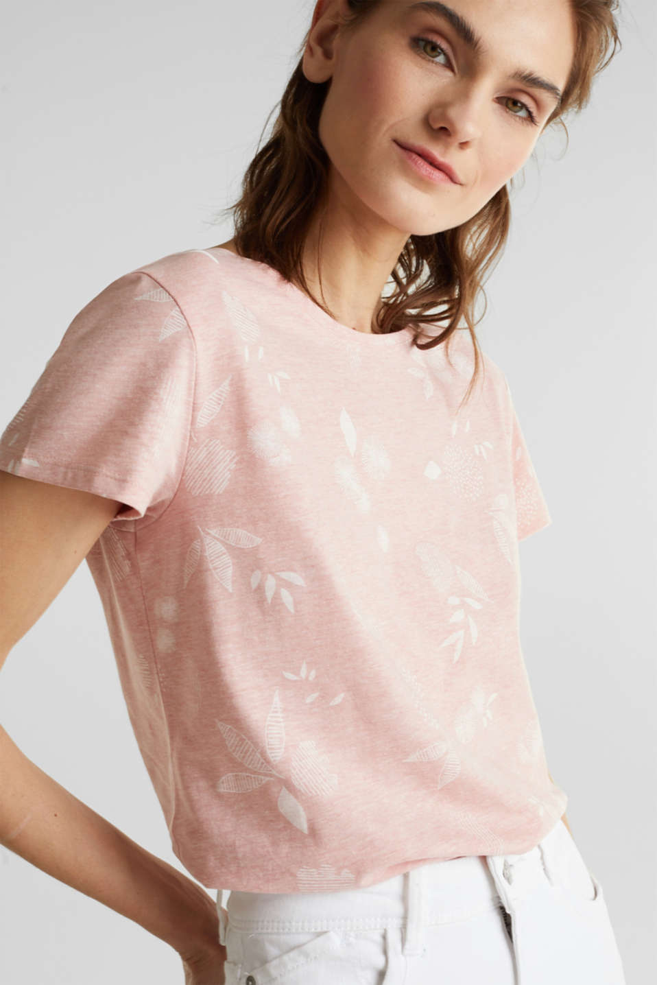 Melange print top with organic cotton, PEACH, detail image number 2