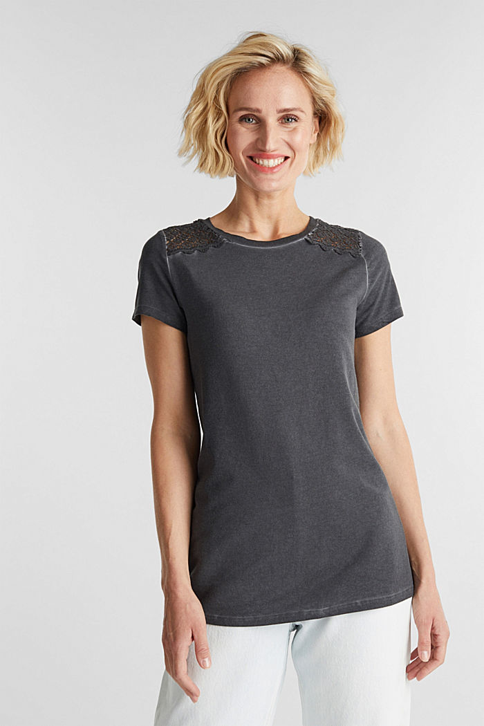 T-shirt with a lace trim, ANTHRACITE, detail image number 0