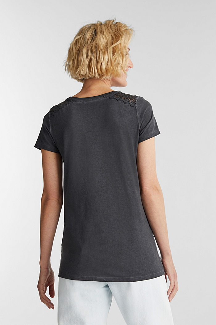 T-shirt with a lace trim, ANTHRACITE, detail image number 3