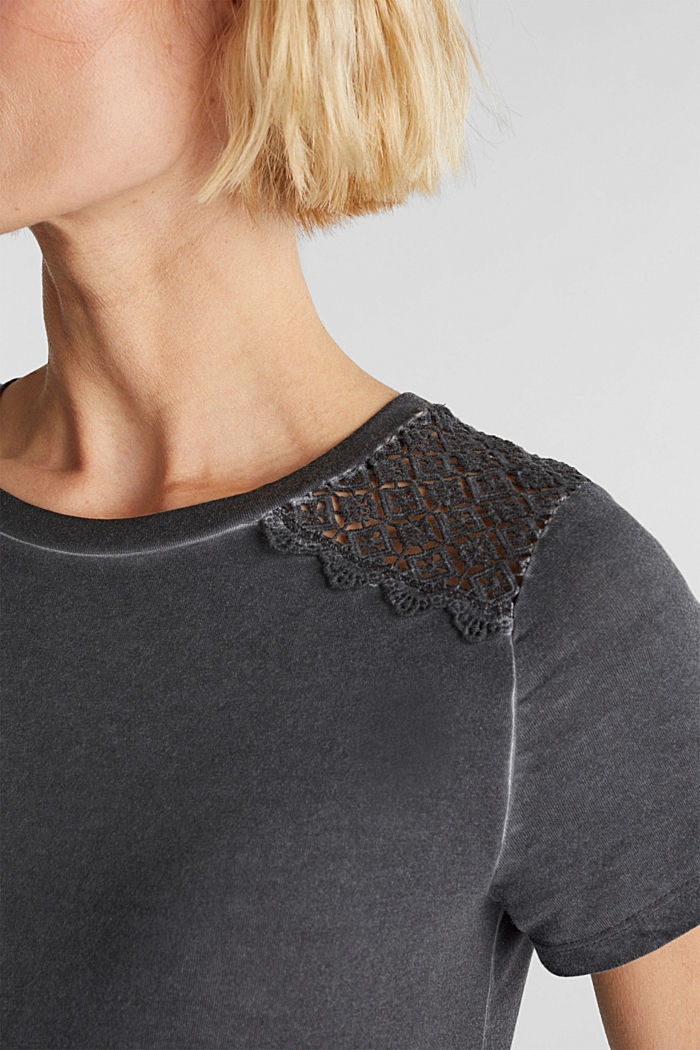 T-shirt with a lace trim, ANTHRACITE, detail image number 2