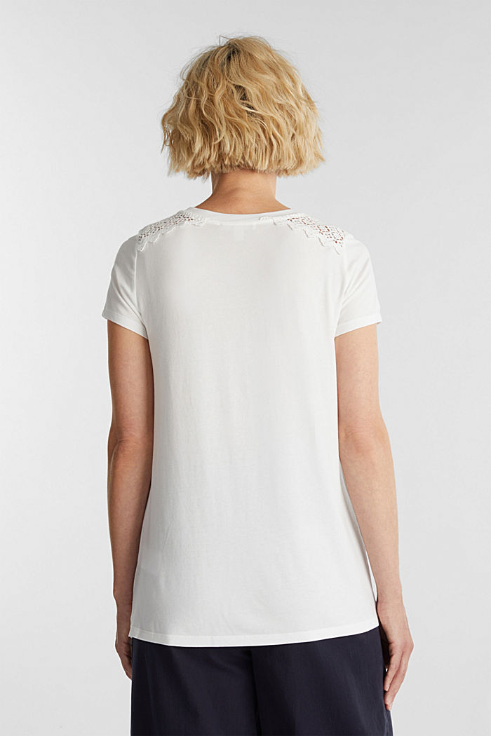T-shirt with a lace trim, OFF WHITE, detail image number 3