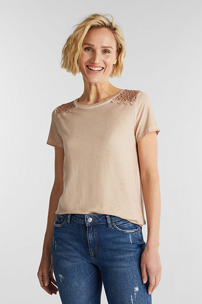 T-shirt with a lace trim, LIGHT TAUPE, detail image number 0