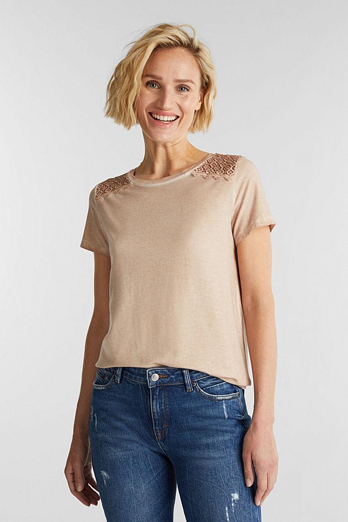 T-Shirt mit Spitzen-Besatz, LIGHT TAUPE, detail image number 0
