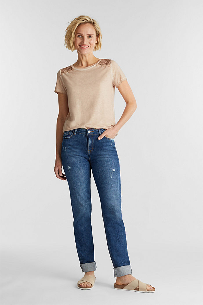 T-shirt with a lace trim, LIGHT TAUPE, detail image number 1