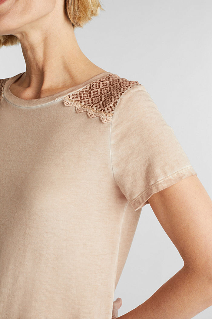 T-shirt with a lace trim, LIGHT TAUPE, detail image number 2