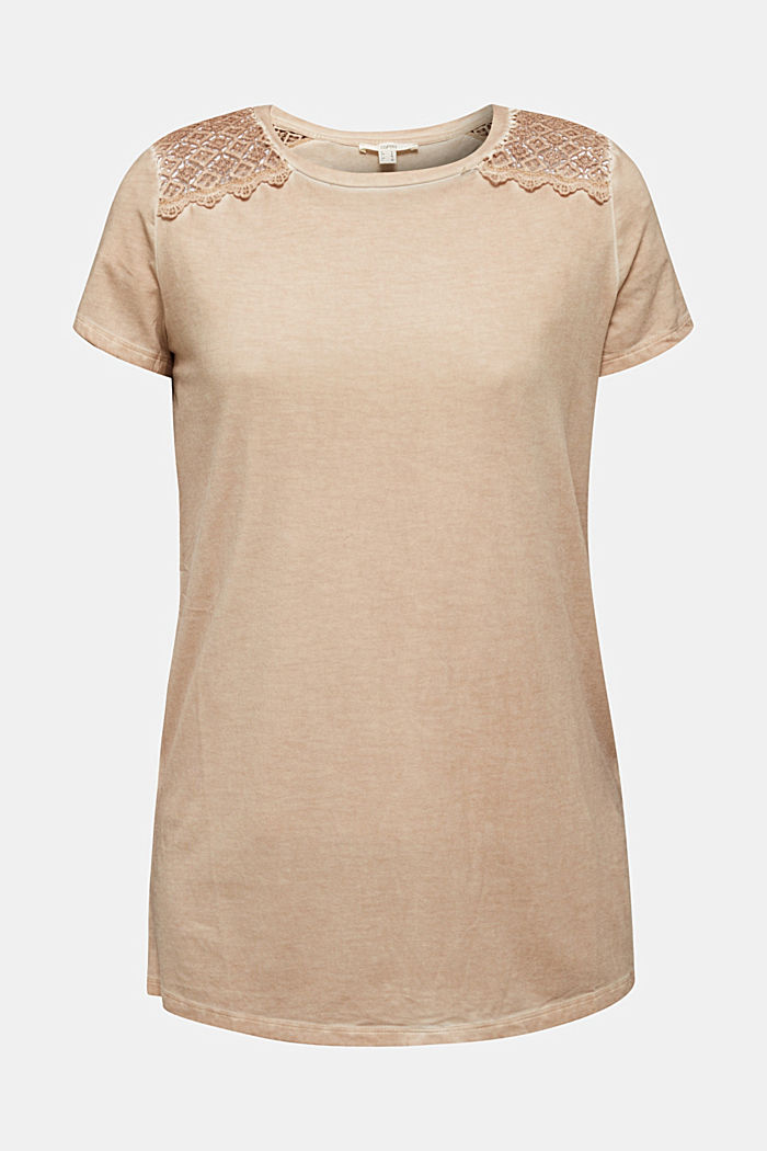 T-shirt with a lace trim, LIGHT TAUPE, detail image number 5
