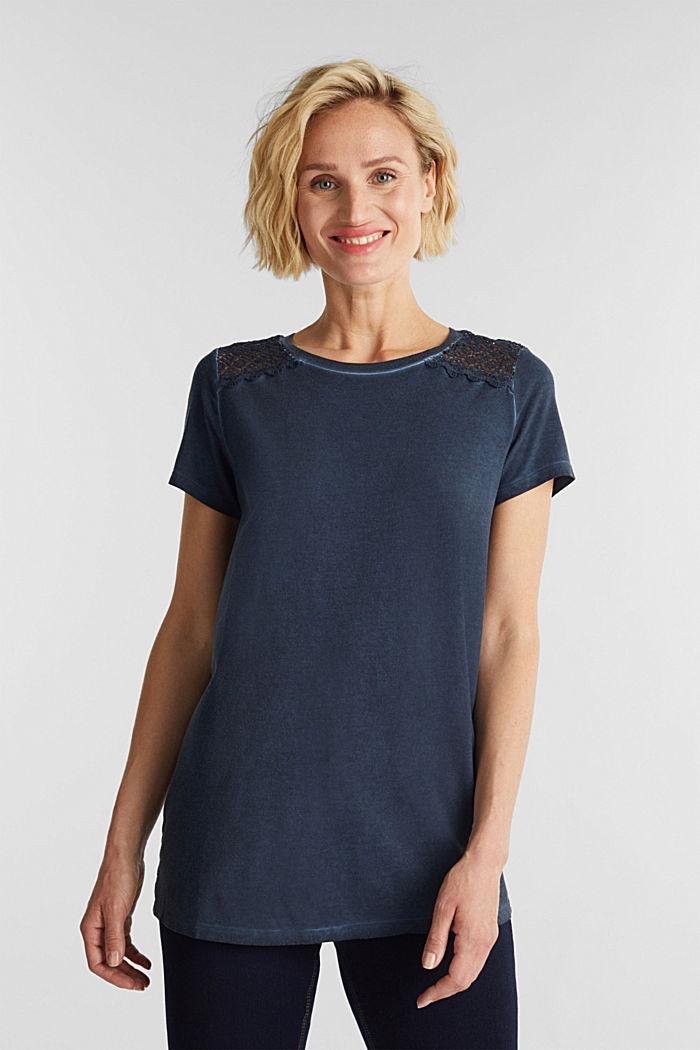 T-Shirt mit Spitzen-Besatz, NAVY, detail image number 0