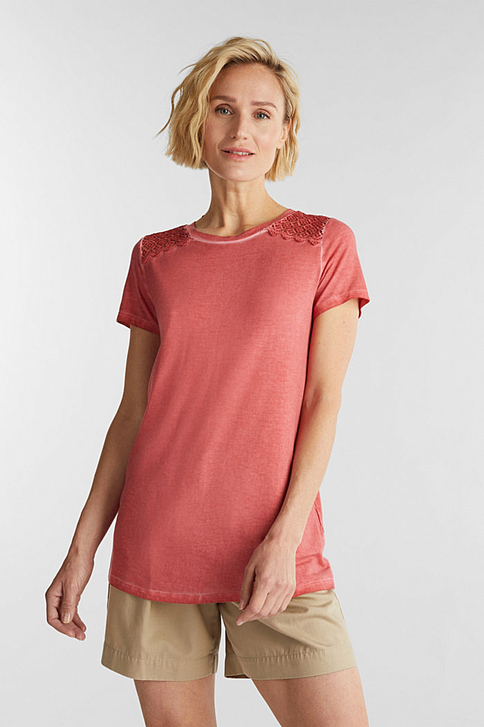 T-shirt with a lace trim, RED, detail image number 0