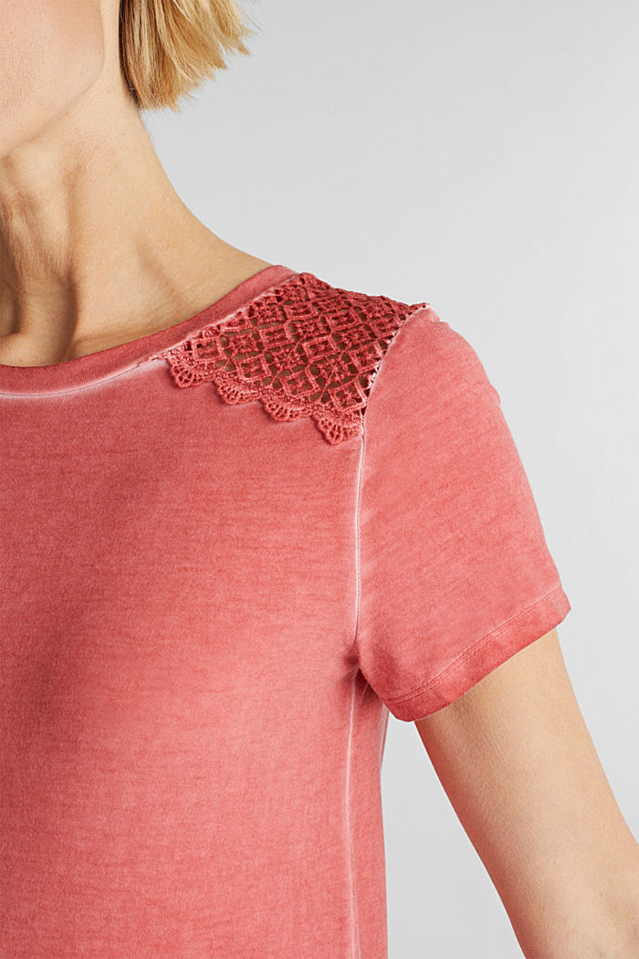 T-shirt with a lace trim, RED, detail image number 2