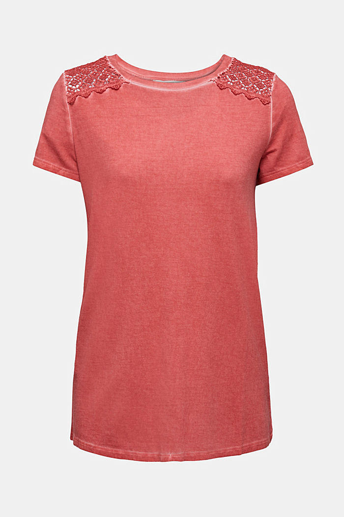 T-shirt with a lace trim, RED, detail image number 5