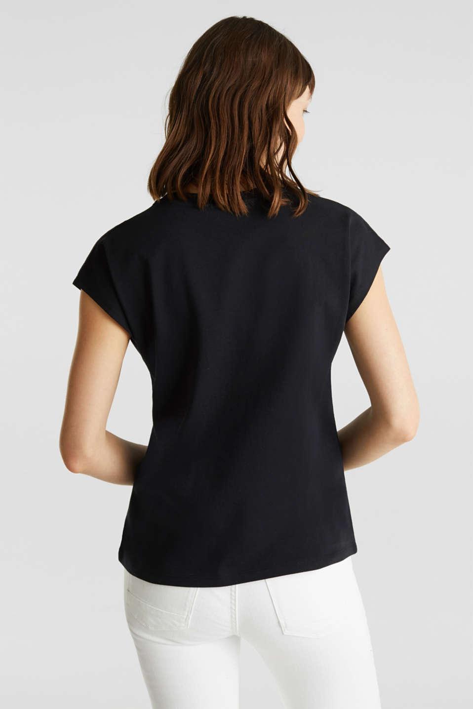 Mesh detail top, 100% cotton, BLACK, detail image number 3