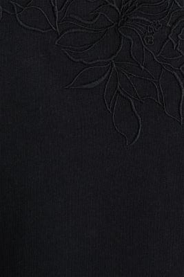Mesh detail top, 100% cotton, BLACK, detail
