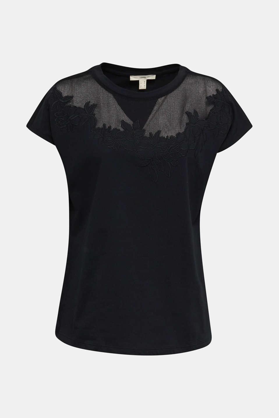 Mesh detail top, 100% cotton, BLACK, detail image number 5