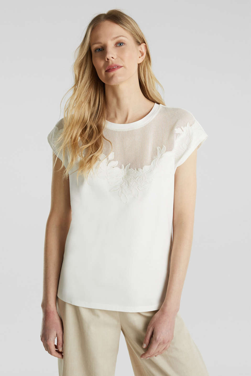 Mesh detail top, 100% cotton, OFF WHITE, detail image number 0