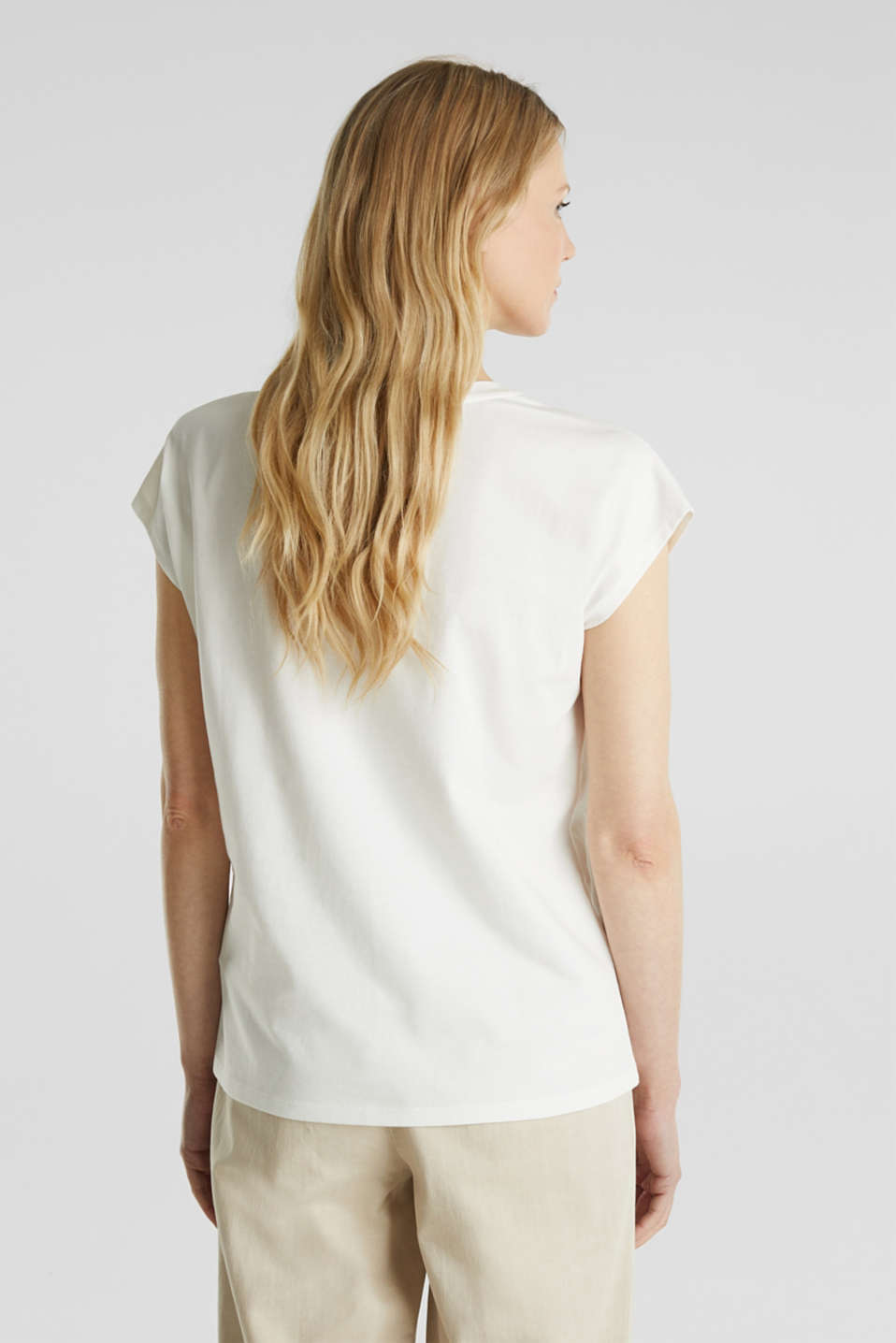 Mesh detail top, 100% cotton, OFF WHITE, detail image number 3