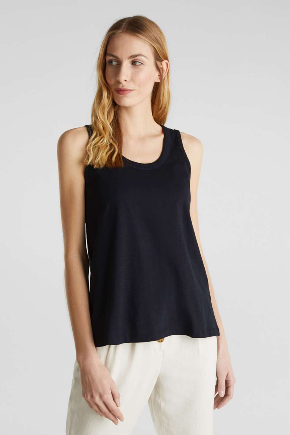 A-line sleeveless top made of 100% organic cotton, BLACK, detail image number 0