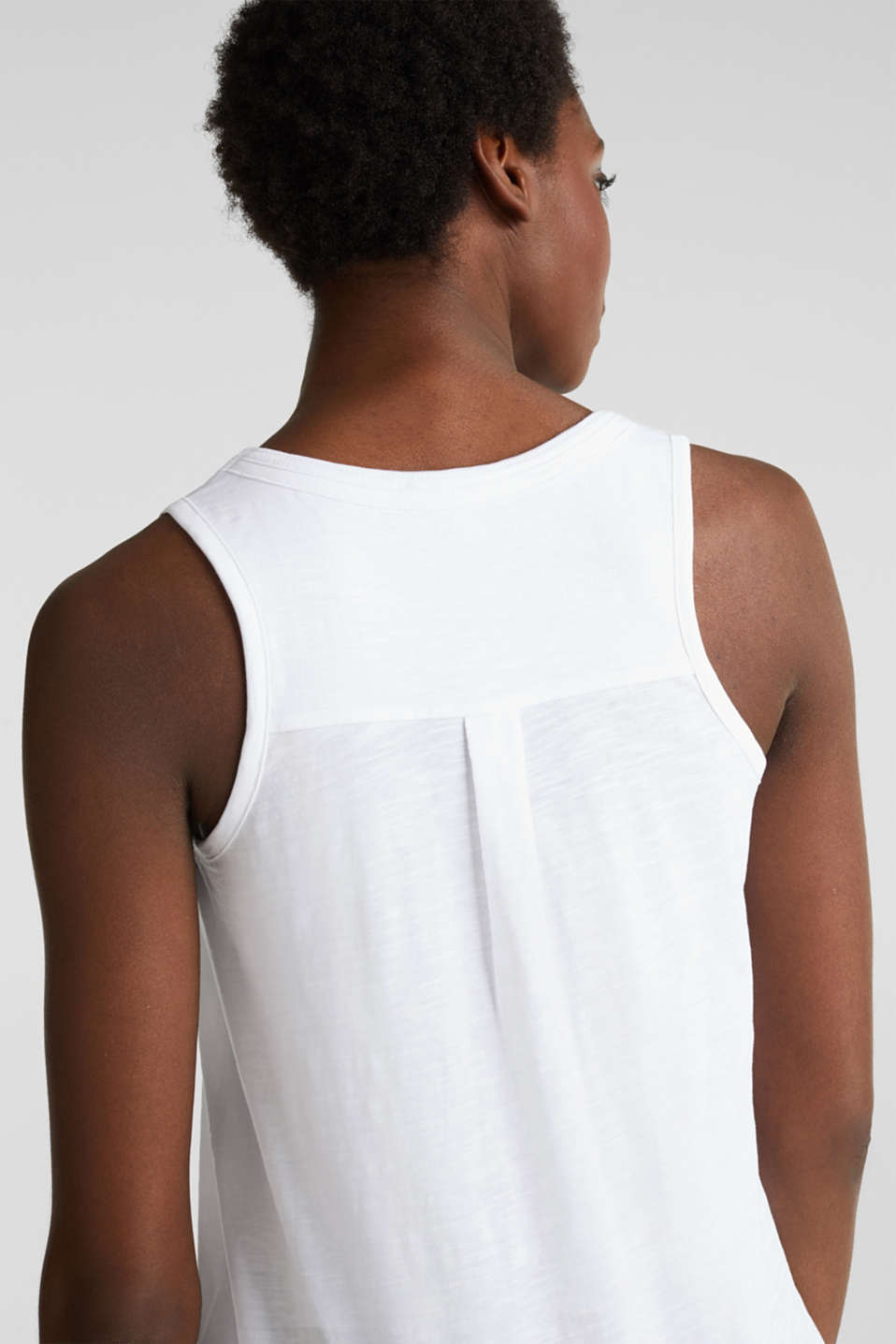 A-line sleeveless top made of 100% organic cotton, WHITE, detail image number 2