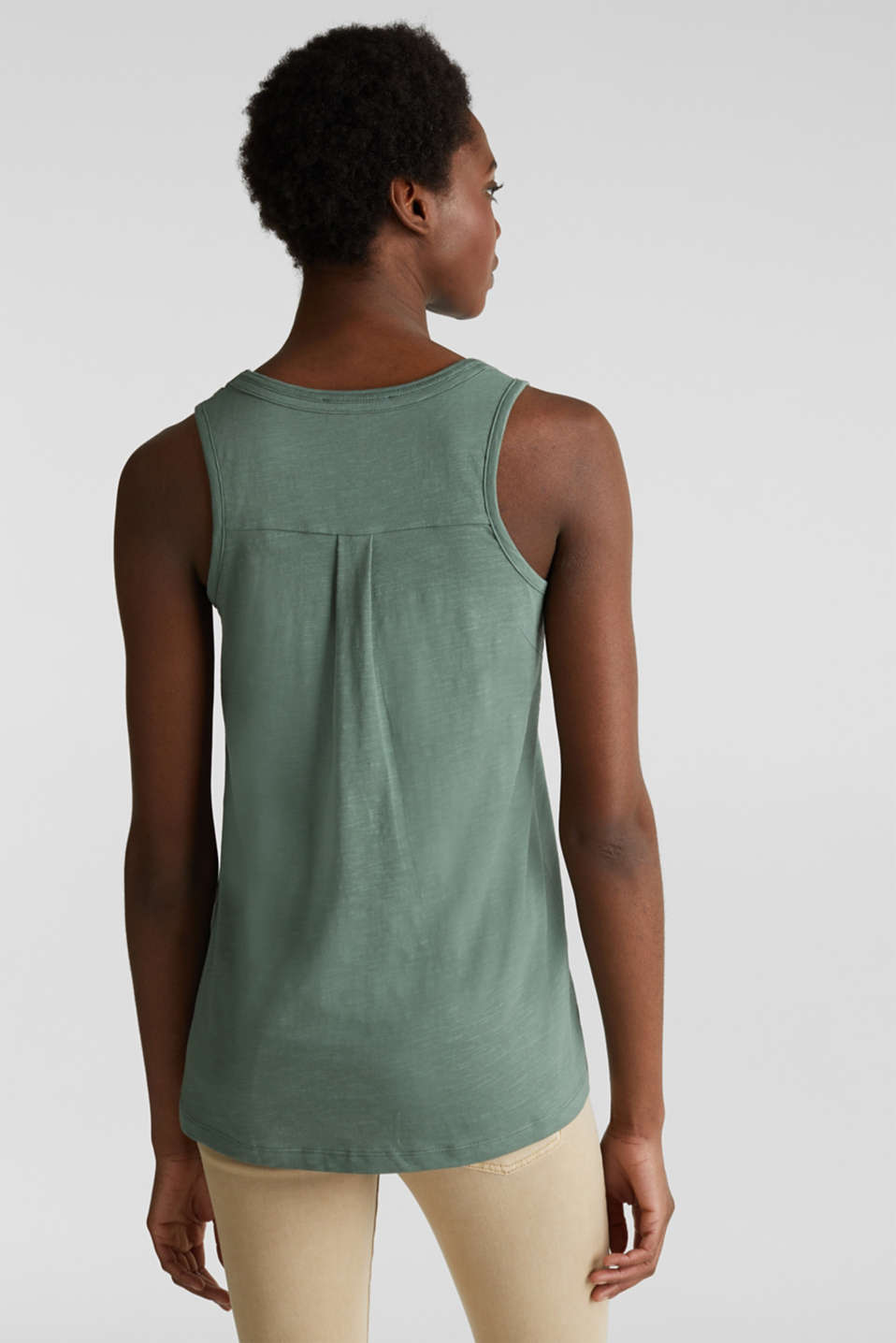 A-line sleeveless top made of 100% organic cotton, KHAKI GREEN, detail image number 3