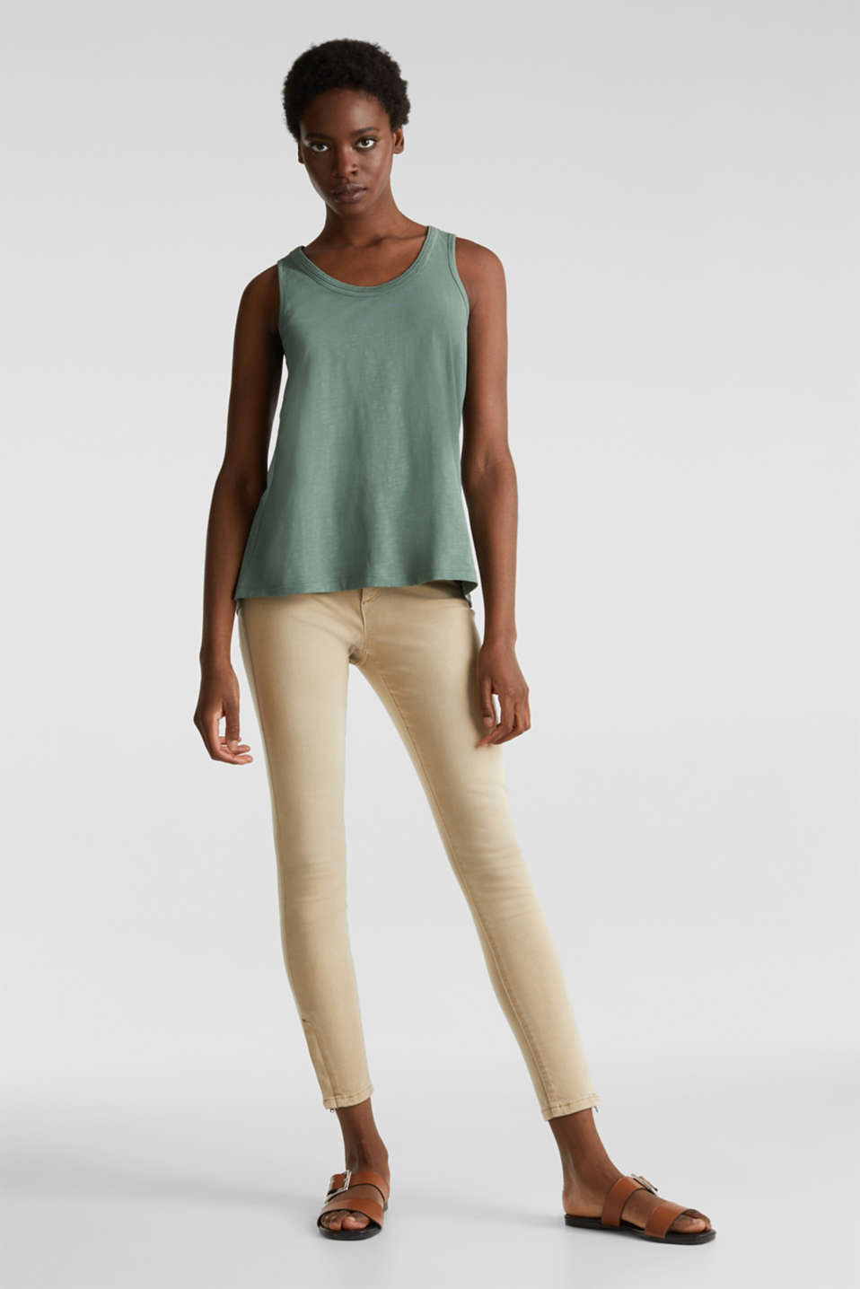 A-line sleeveless top made of 100% organic cotton, KHAKI GREEN, detail image number 1
