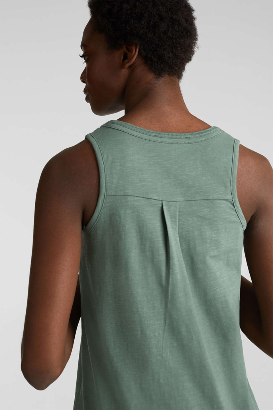 A-line sleeveless top made of 100% organic cotton, KHAKI GREEN, detail image number 5