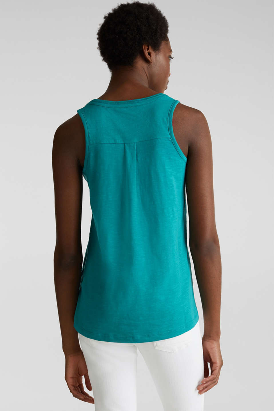 A-line sleeveless top made of 100% organic cotton, TEAL GREEN, detail image number 2