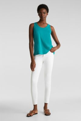 A-line sleeveless top made of 100% organic cotton, TEAL GREEN, detail
