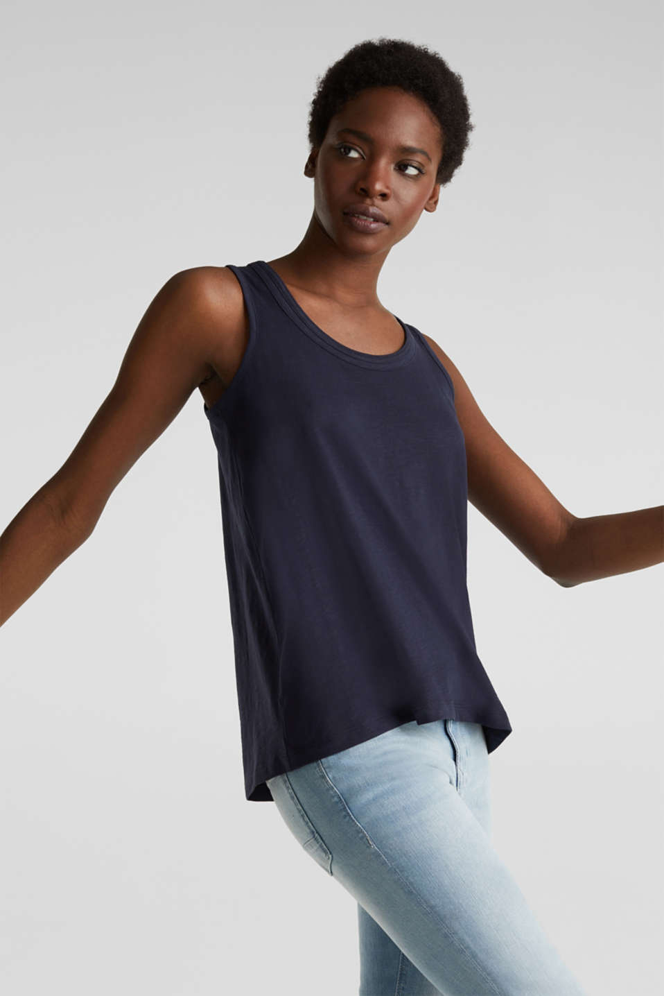 A-line sleeveless top made of 100% organic cotton, NAVY, detail image number 4