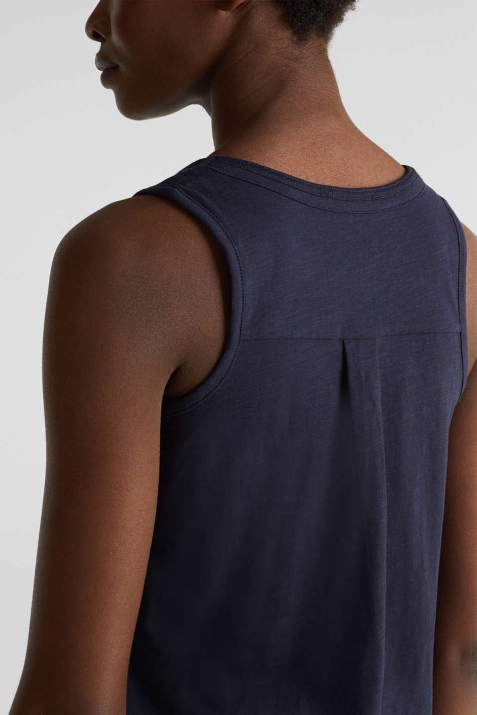 A-line sleeveless top made of 100% organic cotton, NAVY, detail image number 5
