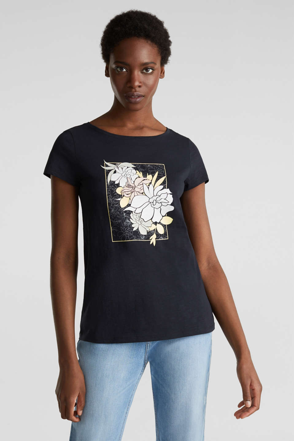 Slub T-shirt with print, 100% organic cotton, BLACK, detail image number 0