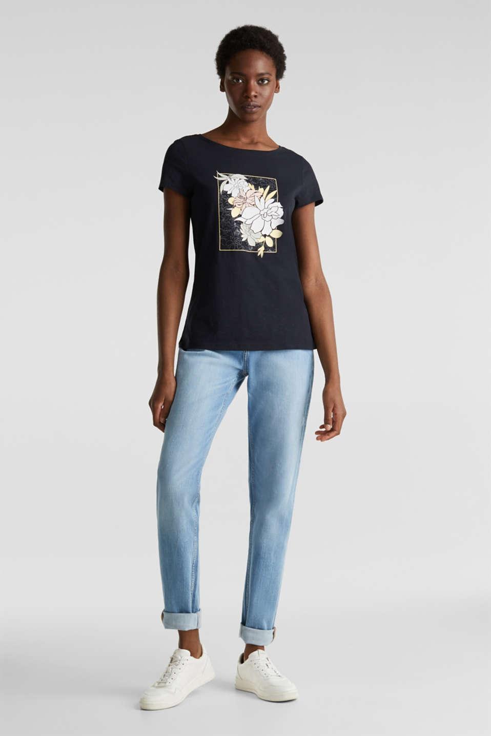 Slub T-shirt with print, 100% organic cotton, BLACK, detail image number 1