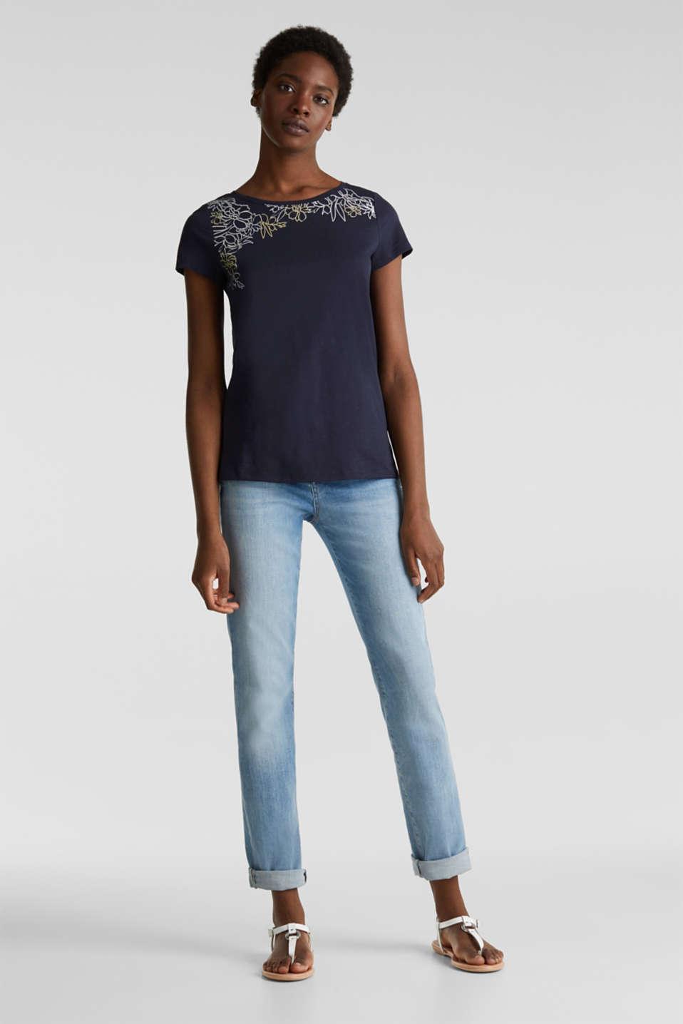 Slub T-shirt with print, 100% organic cotton, NAVY, detail image number 0