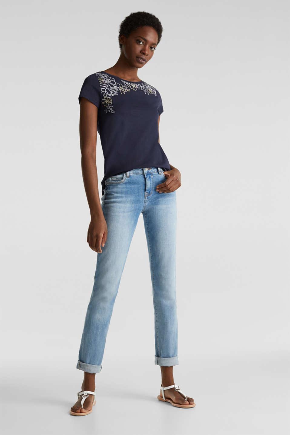 Slub T-shirt with print, 100% organic cotton, NAVY, detail image number 1
