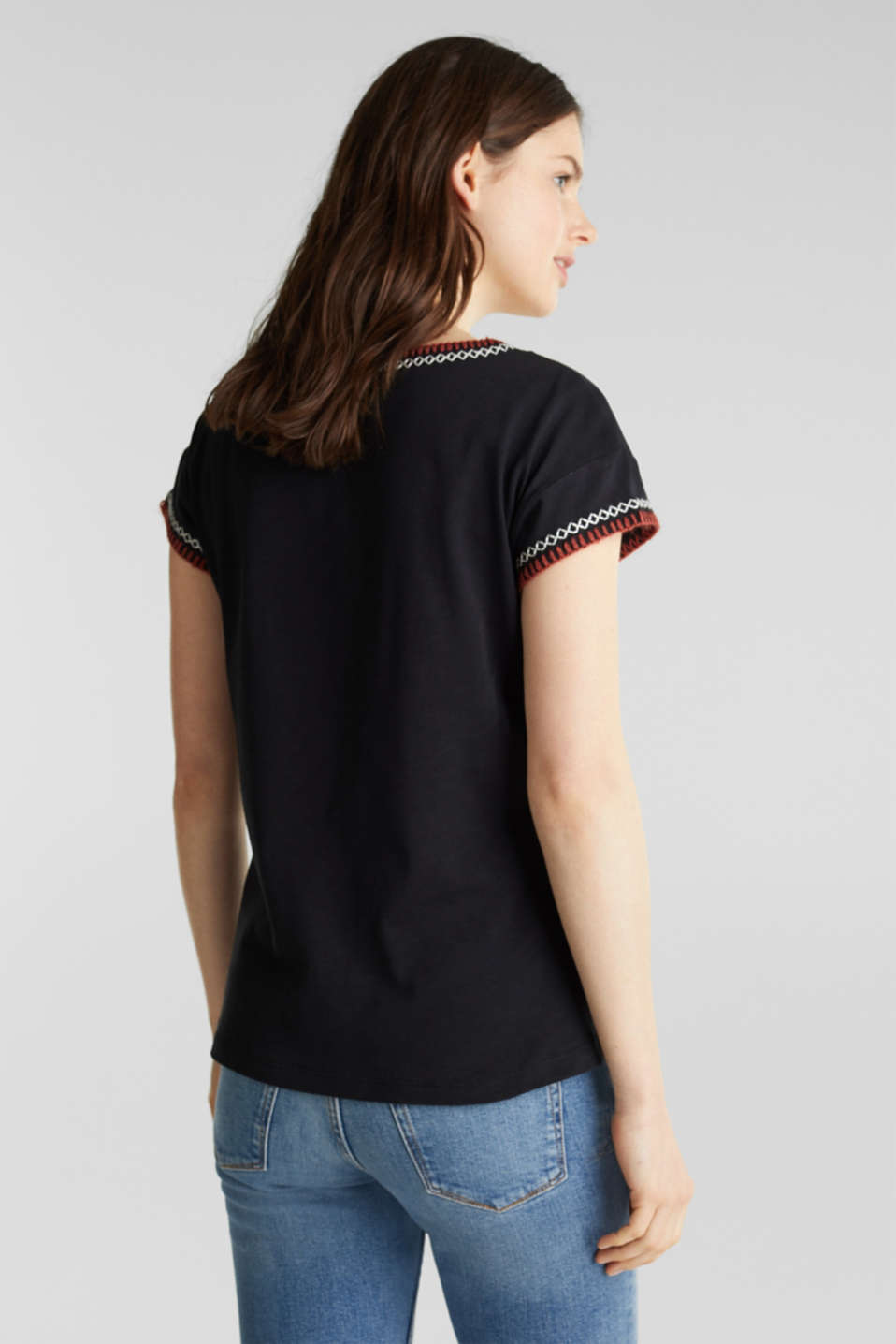 Embroidered top made of organic cotton, BLACK, detail image number 3
