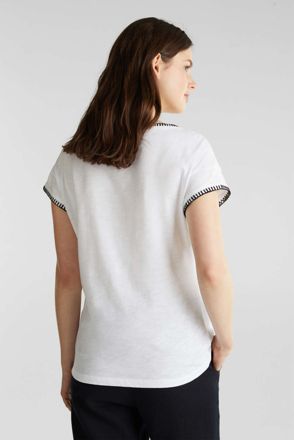 Embroidered top made of organic cotton, WHITE, detail image number 3