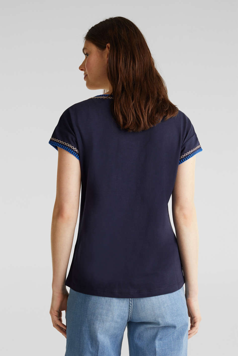 Embroidered top made of organic cotton, NAVY, detail image number 2