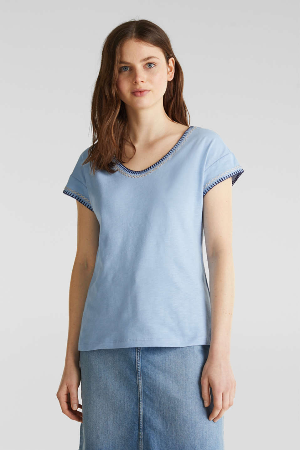 Esprit - Shirt mit Stickerei, 100% Organic Cotton
