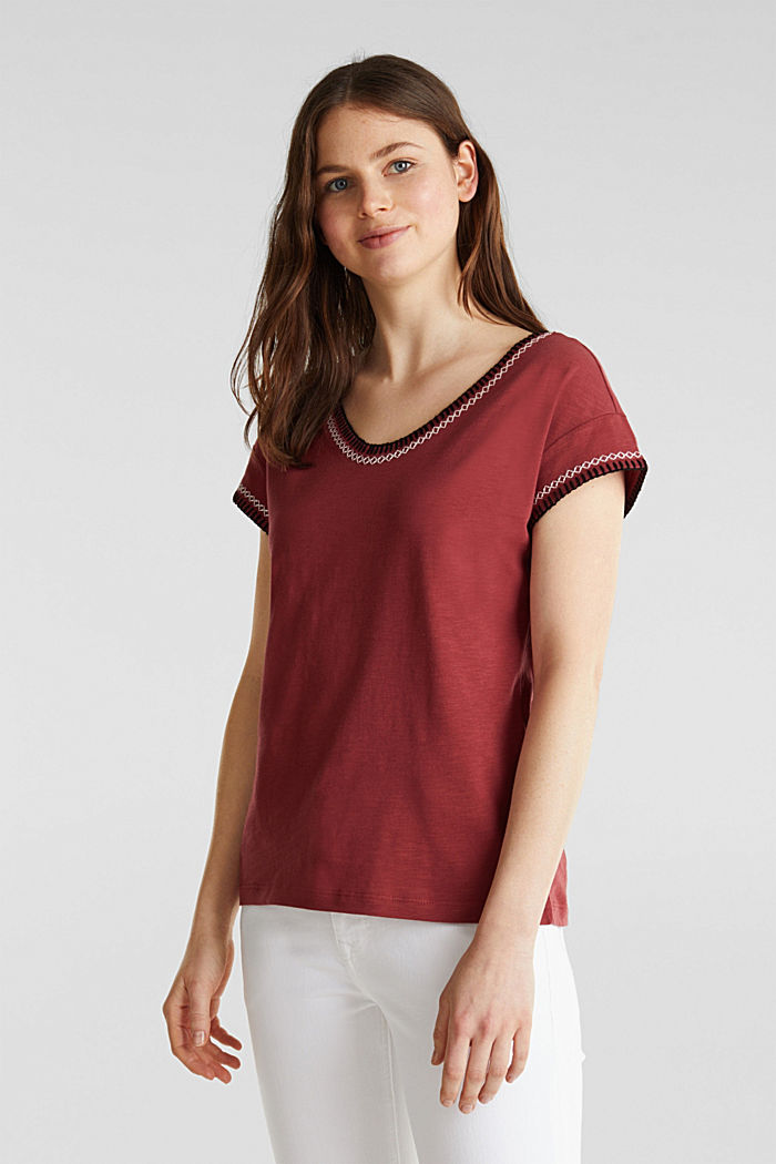 Embroidered top made of organic cotton, DARK RED, detail image number 0