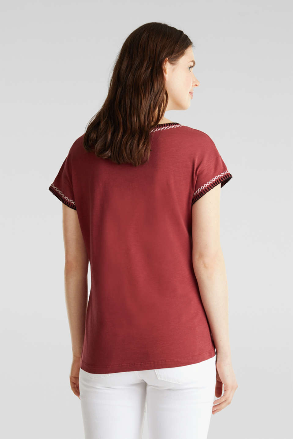 Embroidered top made of organic cotton, DARK RED, detail image number 3